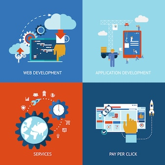 Iconos vectoriales de conceptos de desarrollo de aplicaciones web y aplicaciones en estilo plano