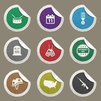 Iconos vectoriales del día de los veteranos para sitios web e interfaz de usuario