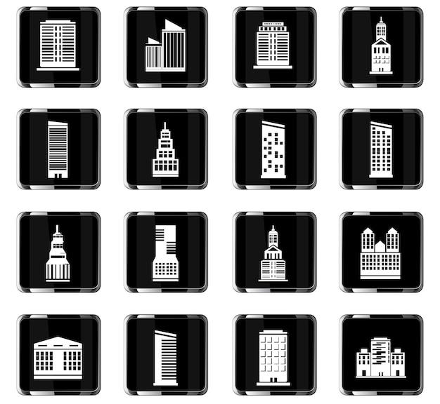 Iconos vectoriales de edificios para el diseño de la interfaz de usuario