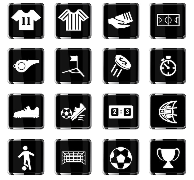 Iconos vectoriales de fútbol para el diseño de la interfaz de usuario
