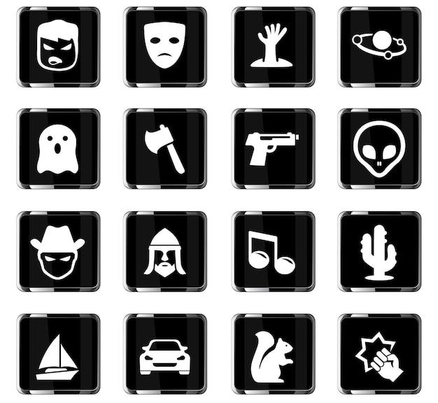 Iconos vectoriales de géneros cinematográficos para el diseño de la interfaz de usuario