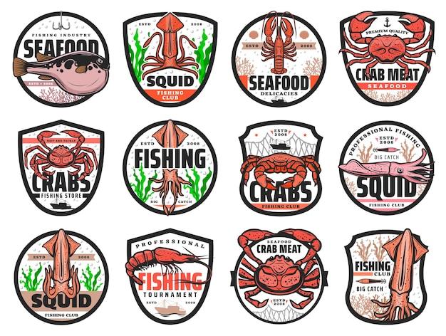 Iconos vectoriales de pesca en el mar para restaurante de mariscos, torneo de captura del club de pesca y tienda de pesca. cangrejo de mar, langosta y calamar, camarones o gambas con emblemas aislados de pez globo o conjunto de etiquetas