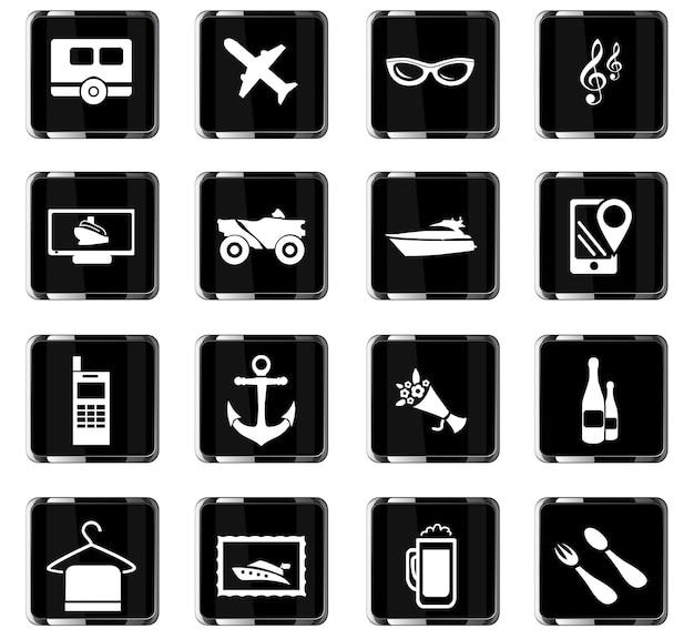 Iconos vectoriales de viaje para el diseño de la interfaz de usuario