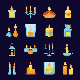 Iconos de velas ardientes en estilo plano