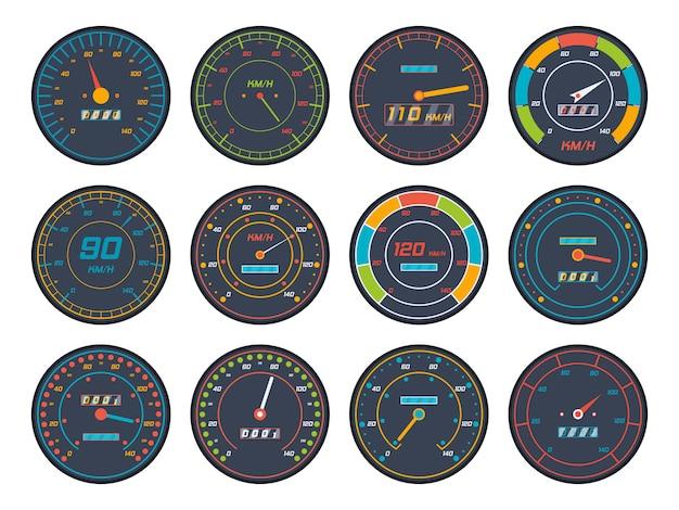 Iconos del velocímetro del motor en diseño plano. conjunto de iconos de indicador de nivel de velocímetro de coche aislado sobre fondo blanco.
