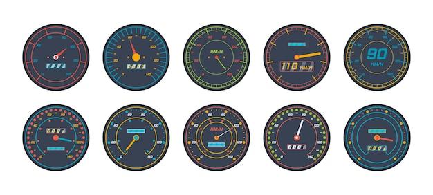 Iconos de velocímetro del motor en diseño plano