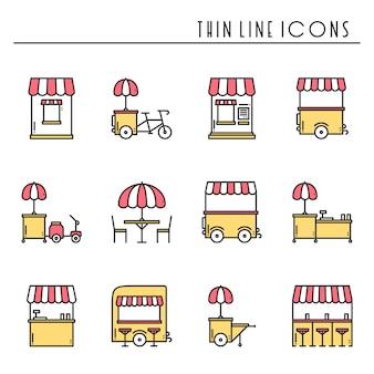 Iconos de venta de comida callejera. camión de comida, quiosco, carrito, puesto en el mercado de ruedas, cafetería móvil