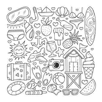 Iconos de verano dibujado a mano doodle para colorear