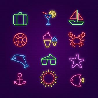 Iconos de verano. iconos de neón de iluminación de verano.