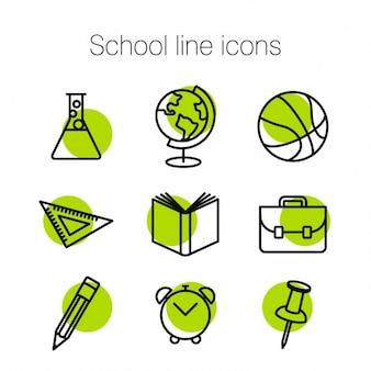 Iconos verdes acerca de la escuela