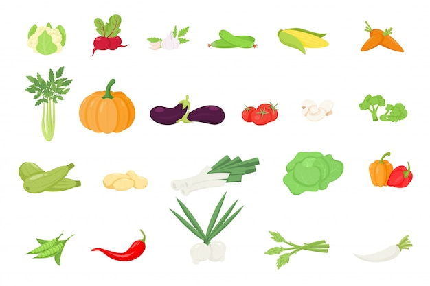 Iconos de verduras en estilo de dibujos animados