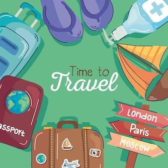 Iconos de viaje alrededor