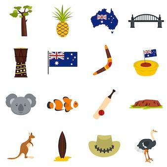 Iconos de viaje de australia establecidos en estilo plano