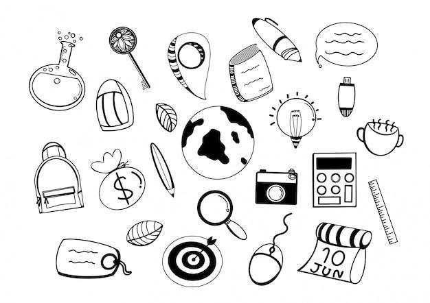 Iconos de viaje doodle. ilustración hecha a mano. sketch line art. objetos turísticos de vacaciones. aventura de verano.
