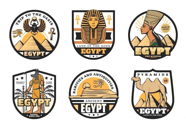 Iconos de viaje de egipto de las antiguas pirámides del faraón