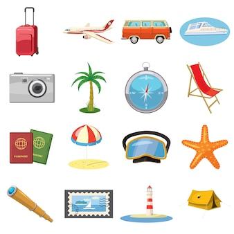 Iconos de viaje establecidos en estilo de dibujos animados aislado