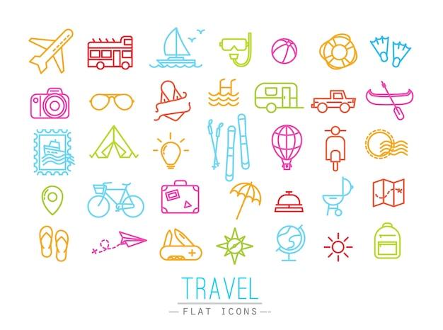 Iconos de viaje que dibujan en estilo plano moderno con líneas de color.