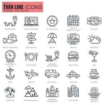 Iconos de viaje y turismo de línea delgada