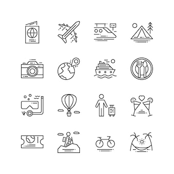 Iconos de viajes y actividades