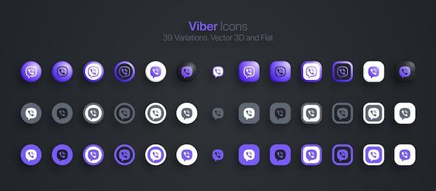Iconos de viber establecidos en 3d moderno y plano en diferentes variaciones