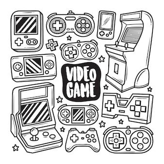 Iconos de videojuegos dibujado a mano doodle para colorear