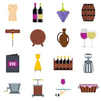 Iconos de vino en estilo plano