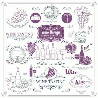 Iconos de vino vintage decorativos. tinta vintage para tienda de vinos. los elementos del vino y la caligrafía giran para los folletos de las etiquetas de vino.