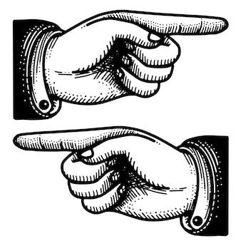 Iconos vintage victoriano señalar dedo mano