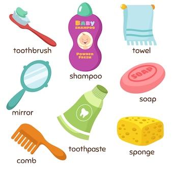 Iconos de vocabulario de accesorios de baño de dibujos animados. espejo, toalla, esponja, cepillo de dientes y jabón. pasta de dientes y esponja, jabón de higiene y peine.
