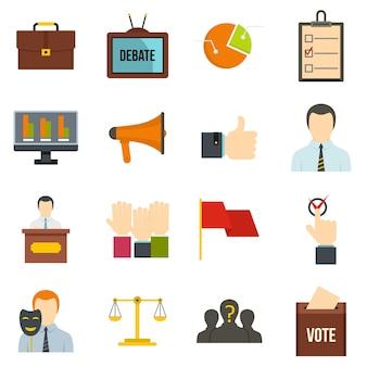 Iconos de votación de elección establecidos en estilo plano