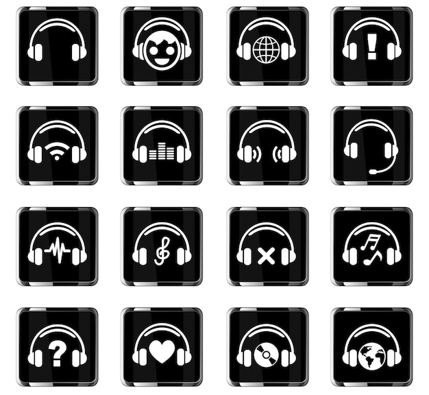 Iconos web de auriculares para el diseño de la interfaz de usuario