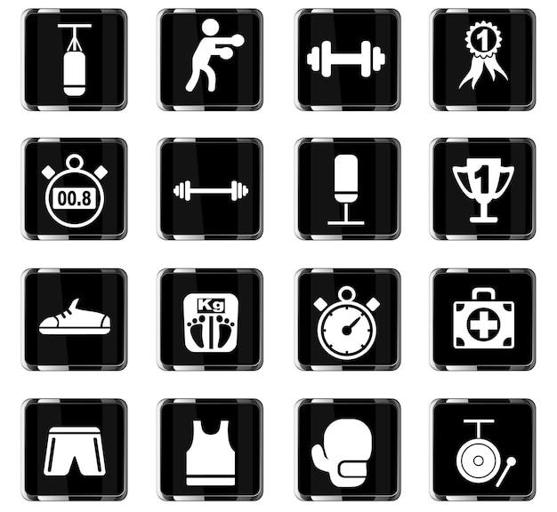 Iconos web de boxeo para el diseño de la interfaz de usuario