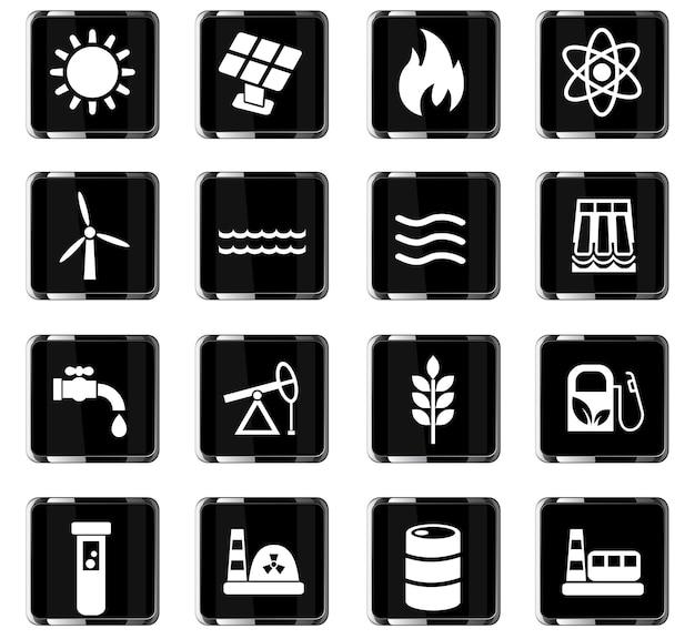 Iconos web de combustible y energía para el diseño de la interfaz de usuario