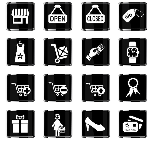 Iconos web de compras y comercio electrónico para el diseño de la interfaz de usuario