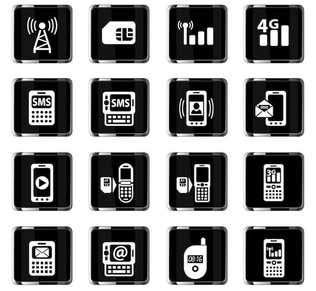 Iconos web de conexión móvil para el diseño de la interfaz de usuario