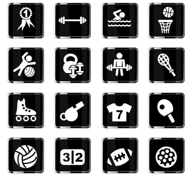 Iconos de la web de deporte para el diseño de la interfaz de usuario