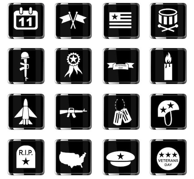 Iconos web del día de los veteranos para el diseño de la interfaz de usuario