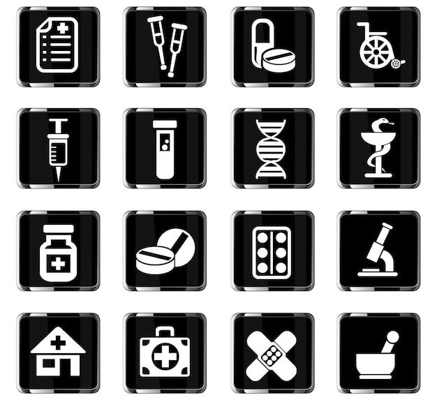 Iconos web de farmacia para el diseño de la interfaz de usuario