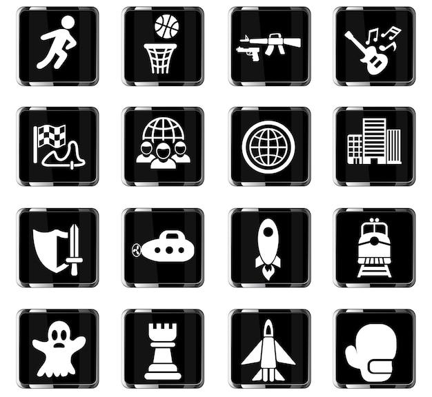 Iconos web de género de juegos para el diseño de la interfaz de usuario
