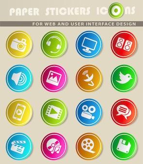 Iconos de web de iconos de medios para el diseño de la interfaz de usuario