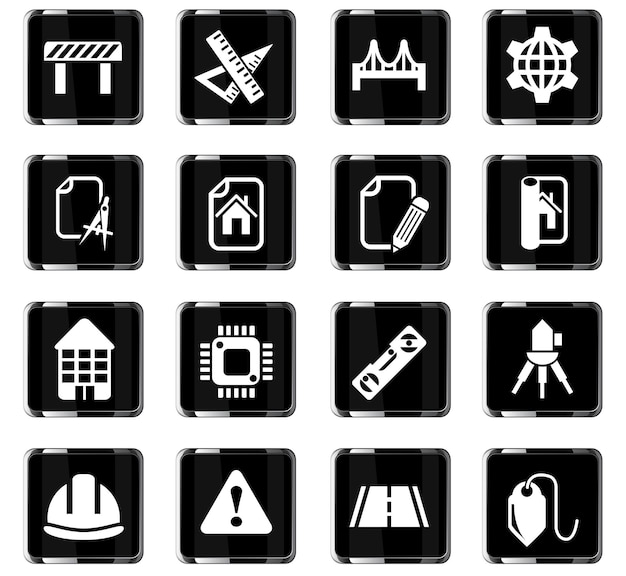 Iconos web de ingeniería para el diseño de la interfaz de usuario
