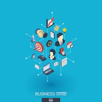Iconos web integrados de negocios. concepto de interacción isométrica de red digital. sistema de línea y punto gráfico conectado. resumen de antecedentes para el plan de estrategia y misión de mercado. infografía