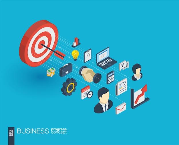 Iconos web integrados de negocios. concepto de progreso isométrico de red digital. sistema de crecimiento de línea gráfica conectado. resumen de antecedentes para el plan de estrategia y misión de mercado. infografía