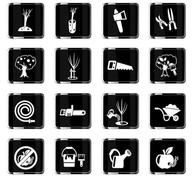 Iconos web de jardinería para el diseño de la interfaz de usuario