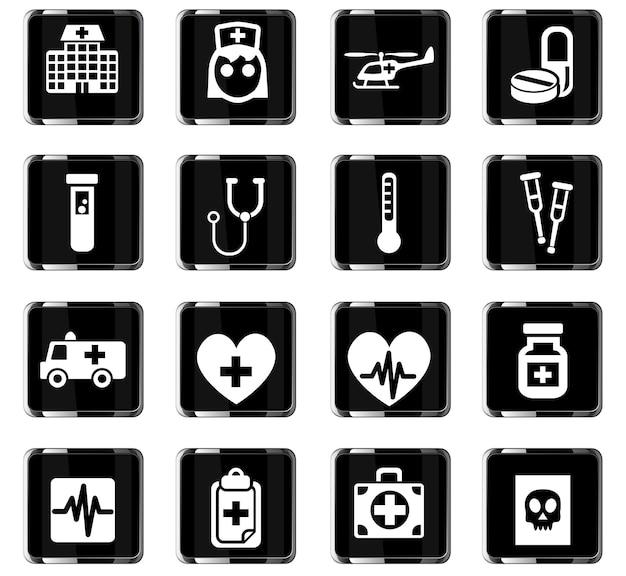 Iconos web de medicina para el diseño de la interfaz de usuario