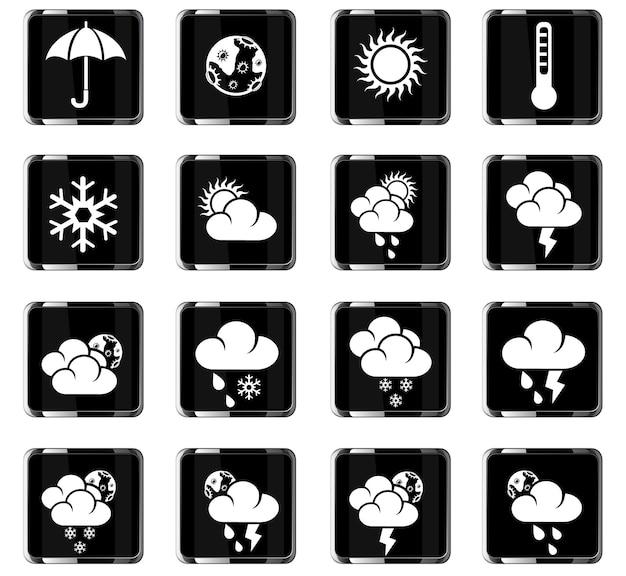Iconos web meteorológicos para el diseño de la interfaz de usuario