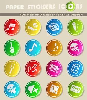 Iconos de la web de música para el diseño de la interfaz de usuario