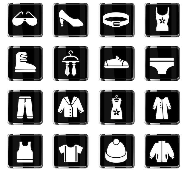 Iconos web de ropa para el diseño de la interfaz de usuario