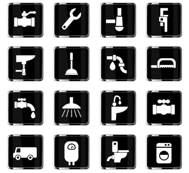 Iconos web de servicio de plomería para el diseño de la interfaz de usuario