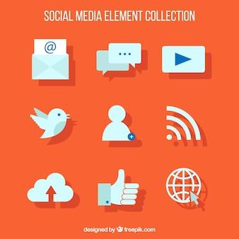 Iconos web sobre un fondo naranja